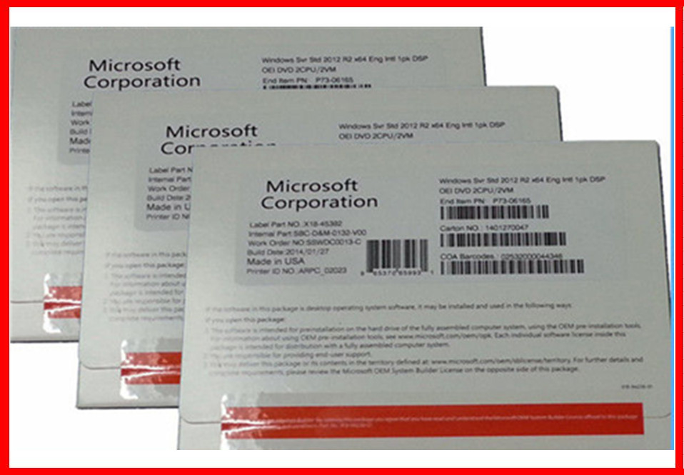 Genuine Software 64 Bit Windows Server 2012 R2 Standard OEM Box 2 User