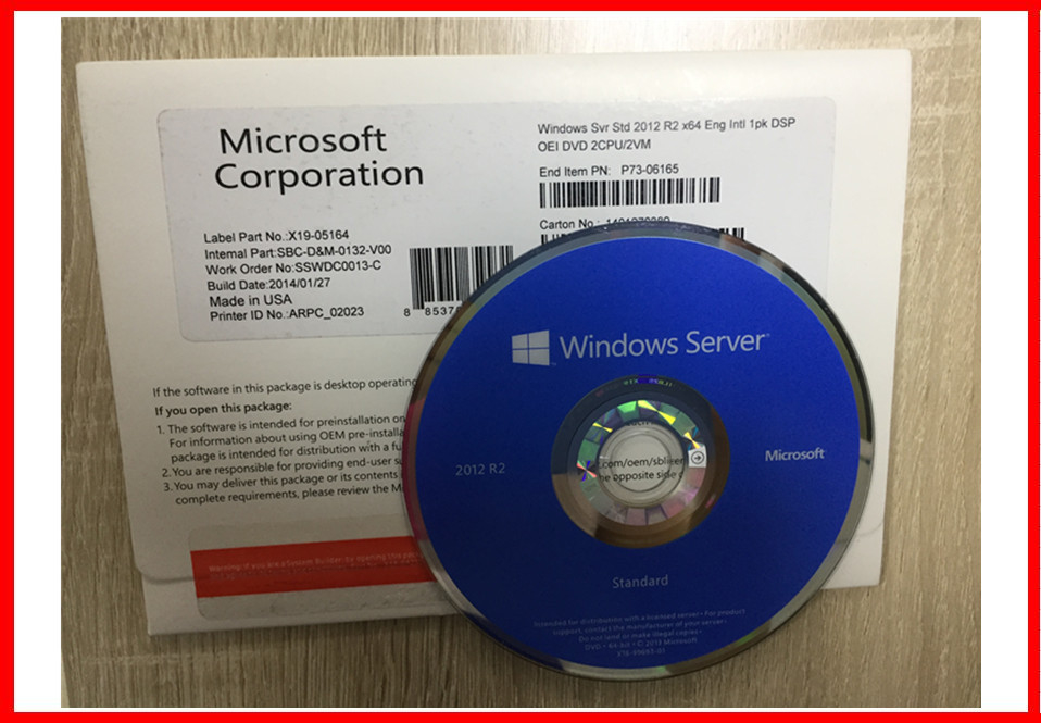 Windows Server 2012 R2 Standard OEM Box 64 Bit Activation Online English Version