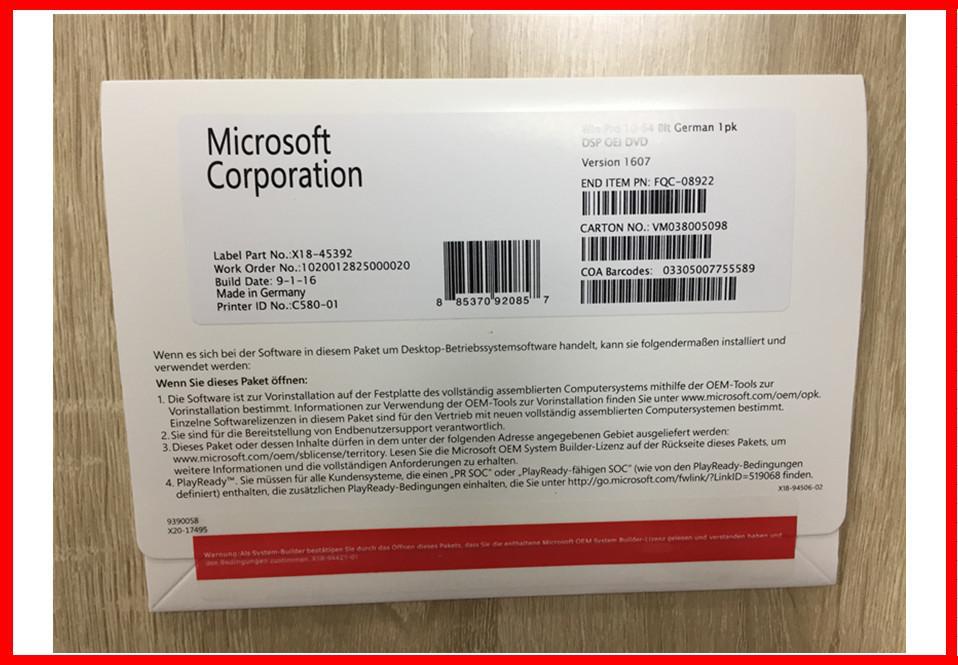 32BIT 64Bit Windows 10 Pro Retail Box OEM Pack With Original Key Code Made In Germany