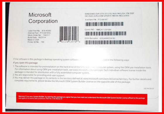 China 2CPU / 2VM Windows Server 2012 R2 Standard  100 % Activation Microsoft factory