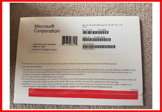 16 Core COA Windows Sever 2016 Standard OEM Pack 100 % Activation