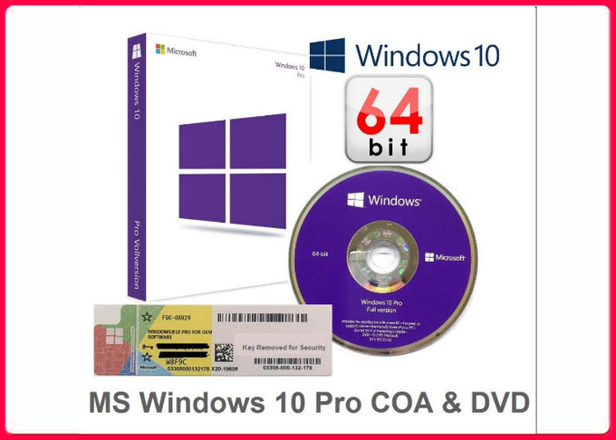 OEM / FPP Sticker License 64bit Windows 10 Pro Retail Box Activation
